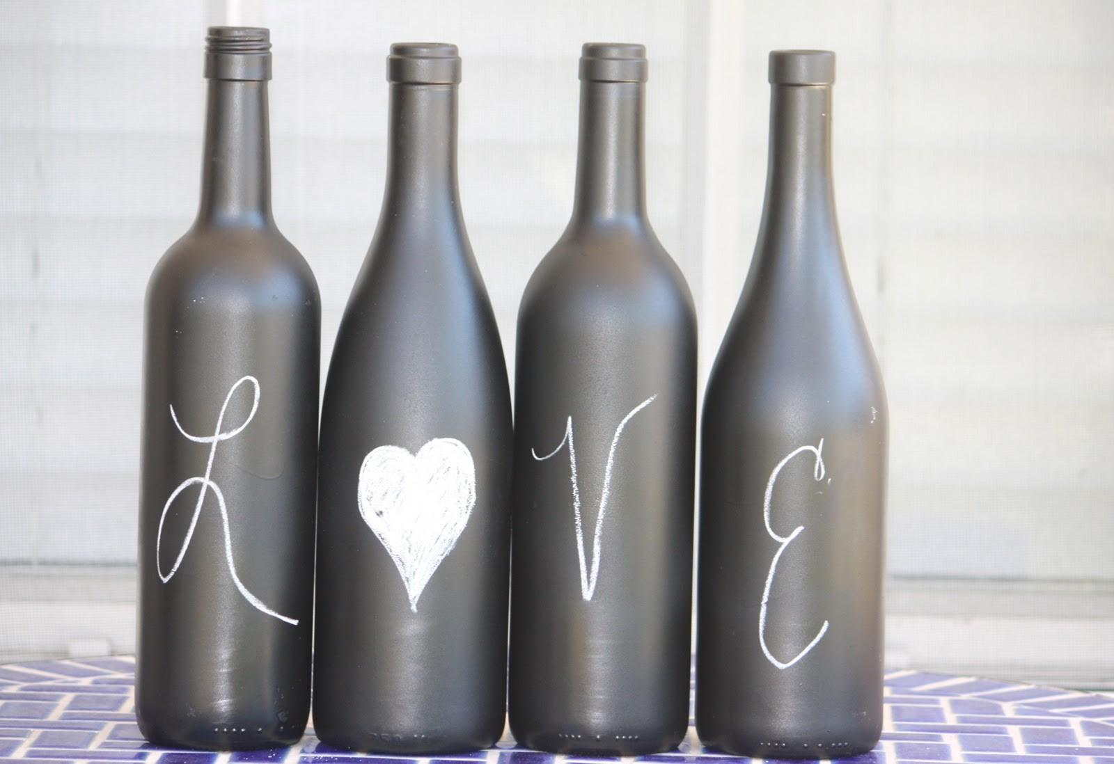 Recycled Wine Bottles Label Paint Bottle