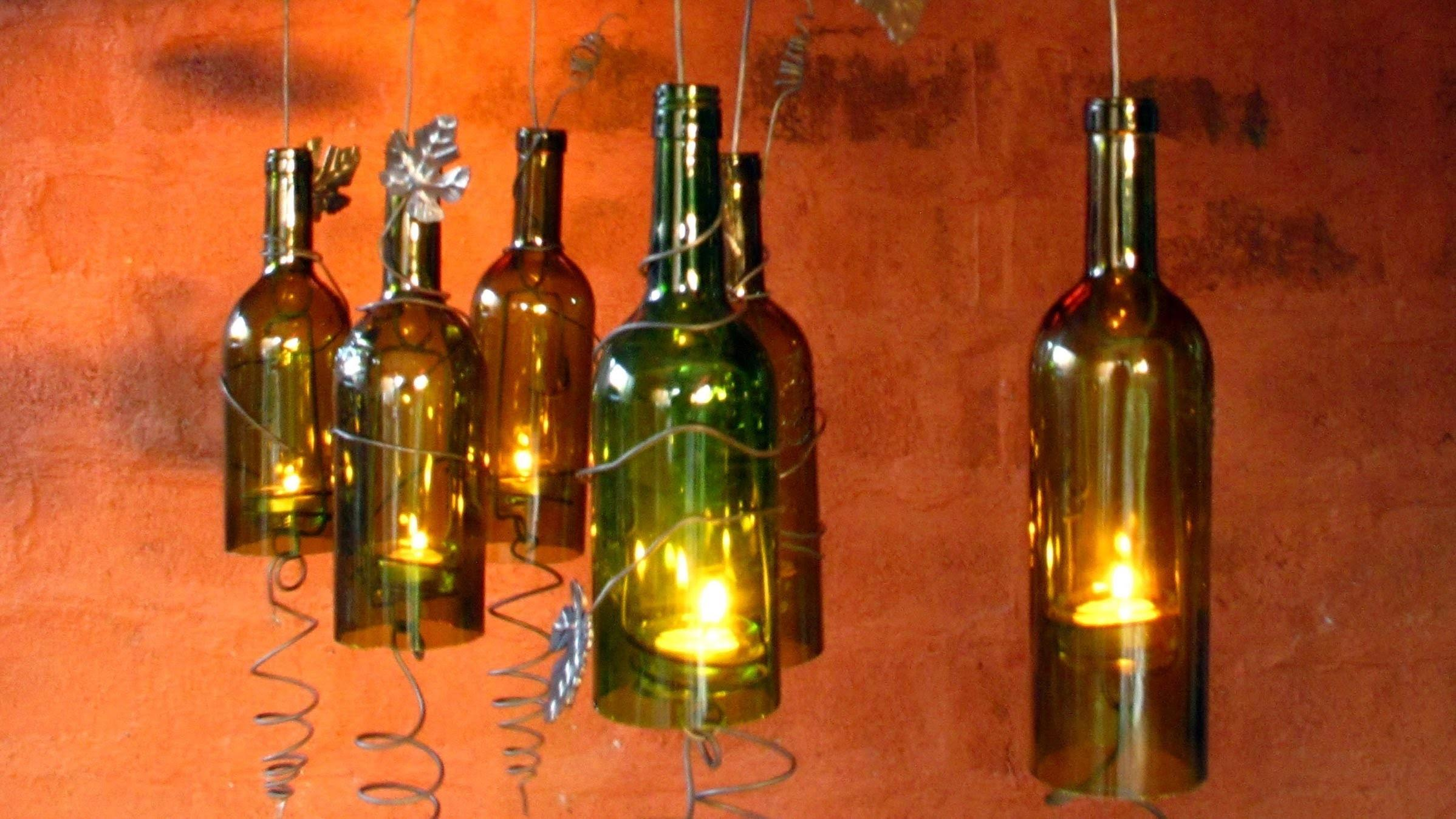 Recycled Wine Bottles Made Into Hurricane Candle Holder