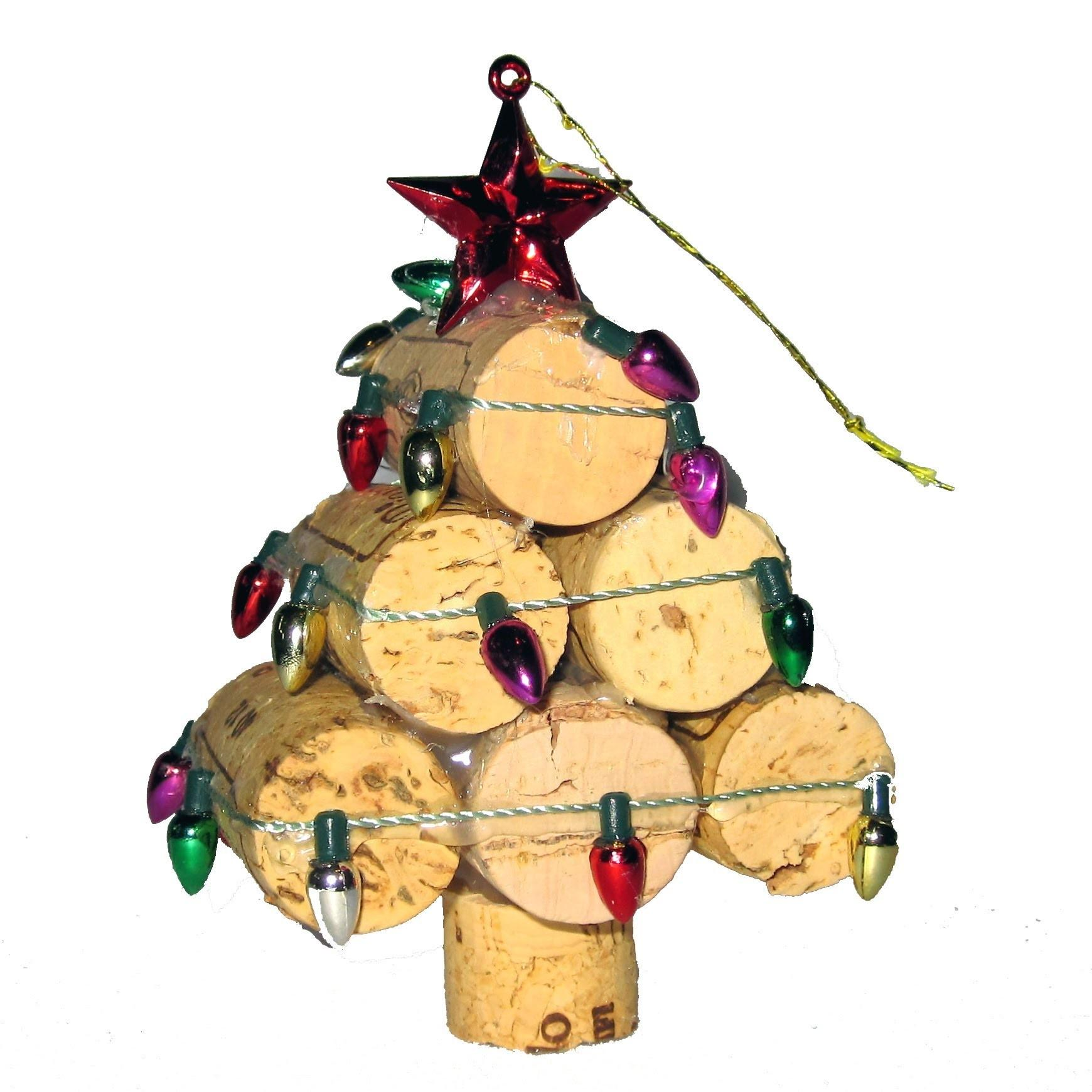 Recycled Wine Cork Mini Christmas Tree Ornament