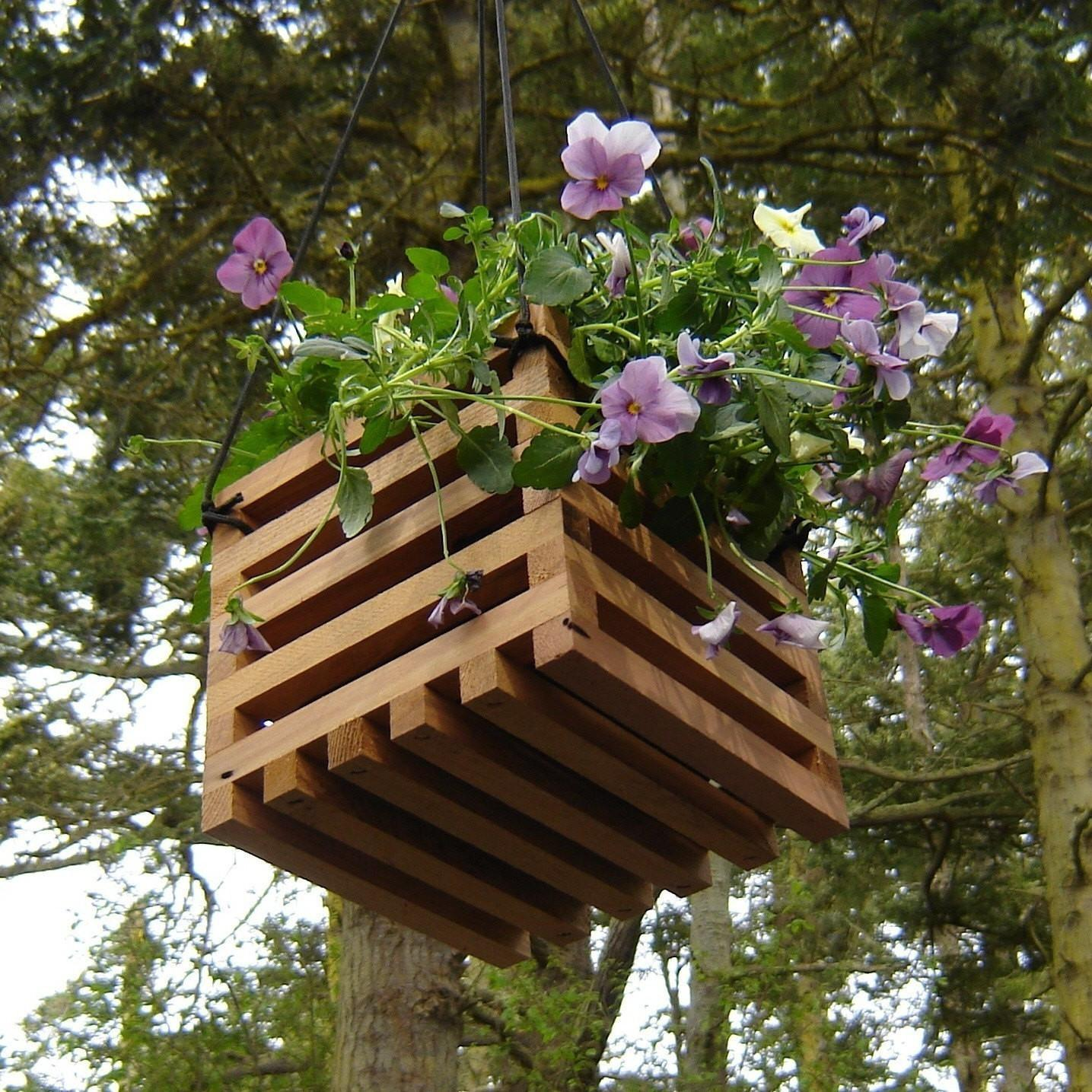 Recycled Wood Hanging Basket Planter