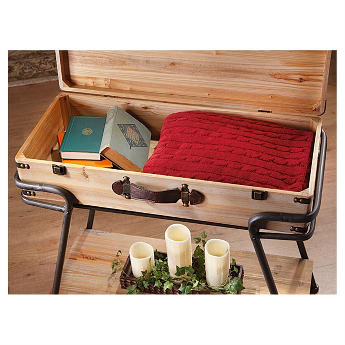 Recycled Wood Metal Suitcase Table Living