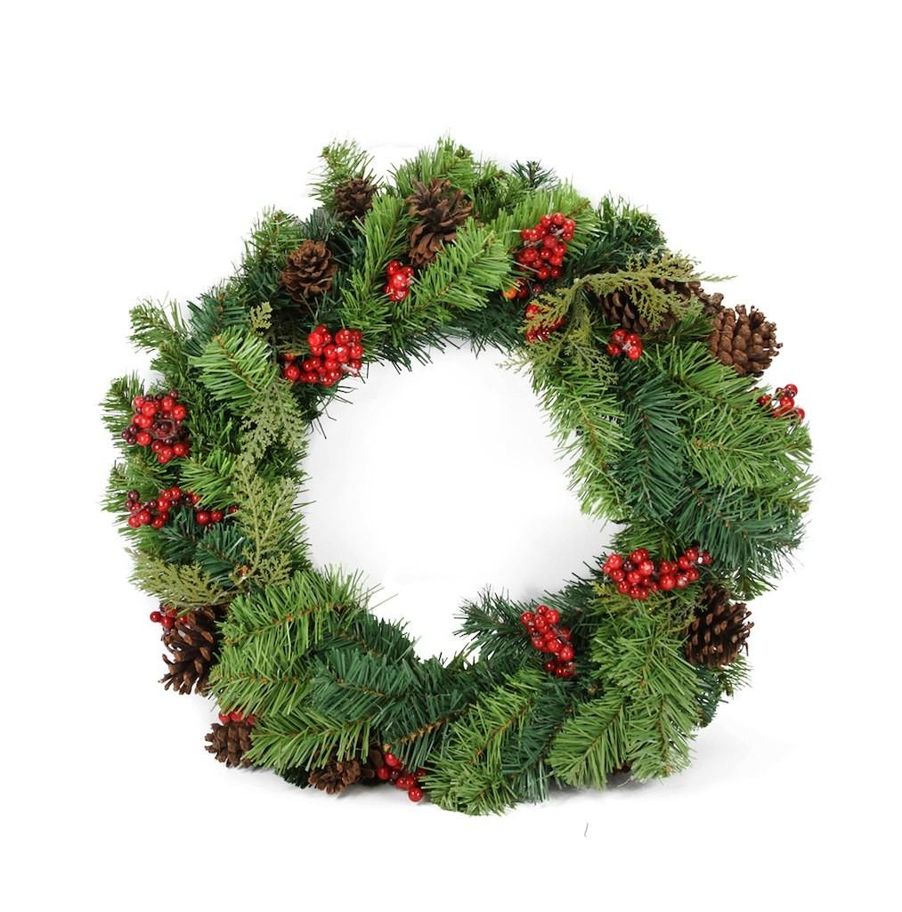 Red Berry Pine Cone Artificial Christmas Wreath Unlit