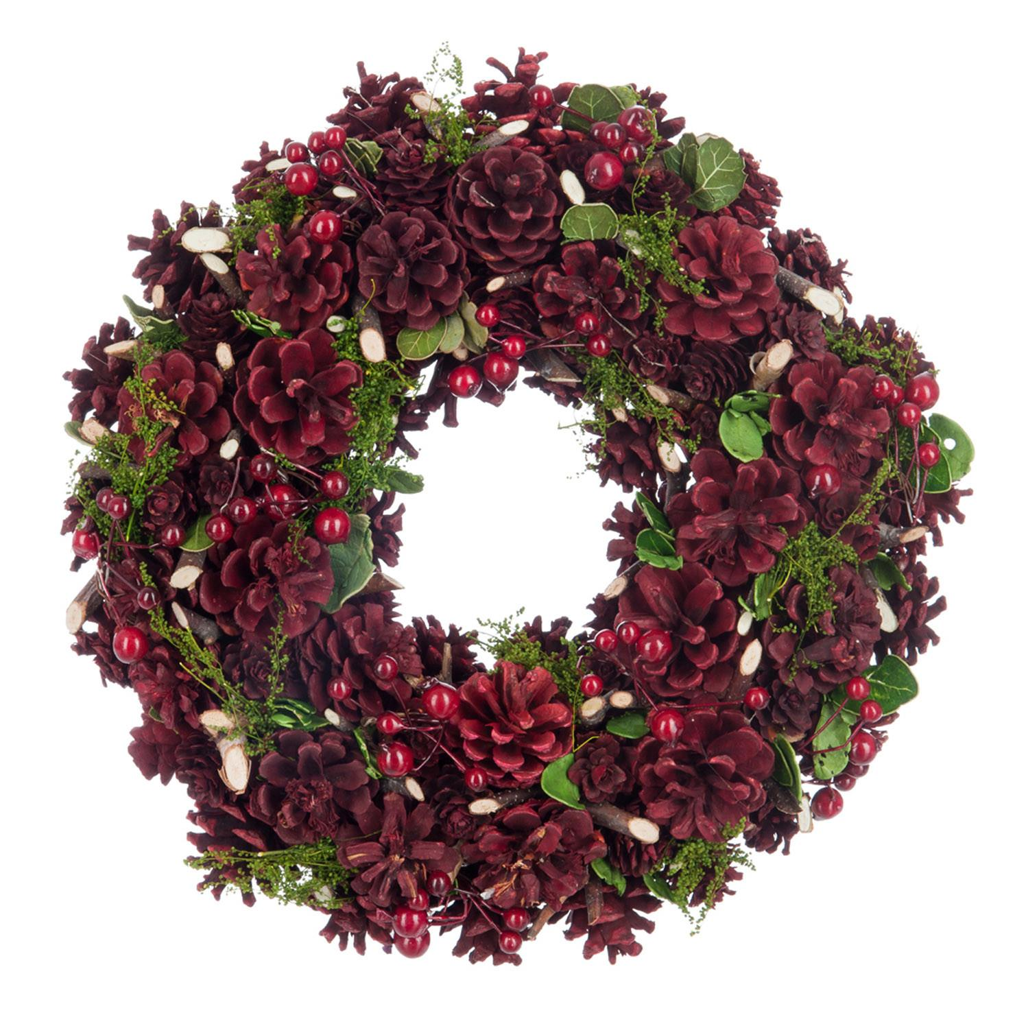 Red Berry Pinecone Wreath Achica