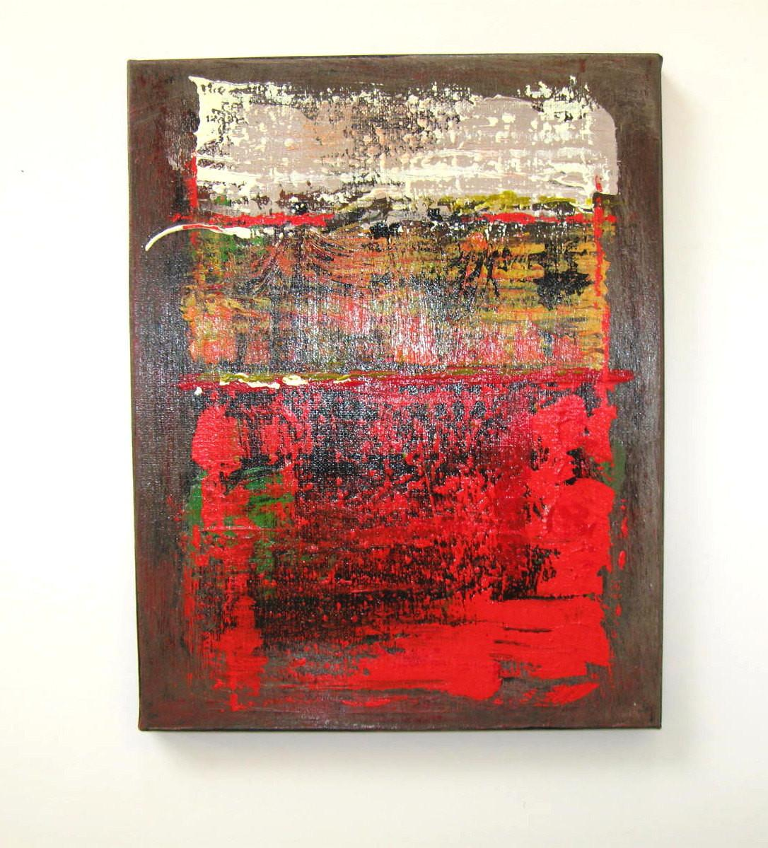 Red Brown Original Abstract Painting Acrylic