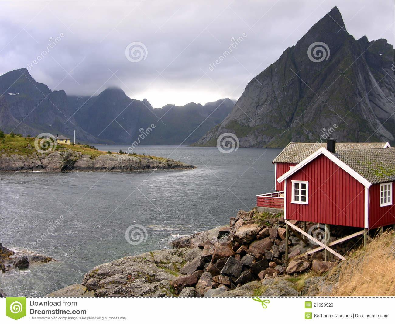 Red Cabin Fjord Norway Royalty Stock Photos