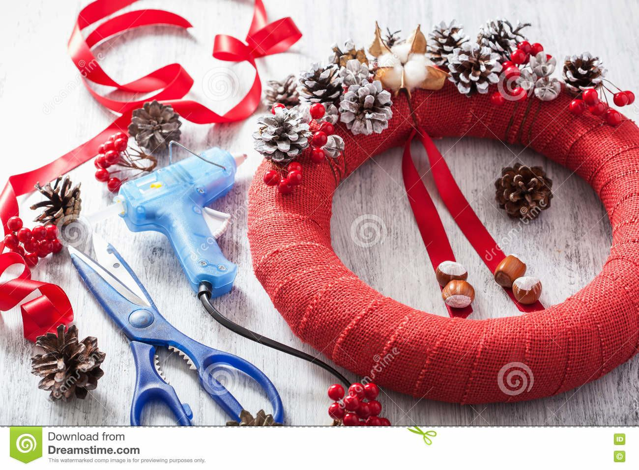 Red Christmas Wreath Royalty Stock