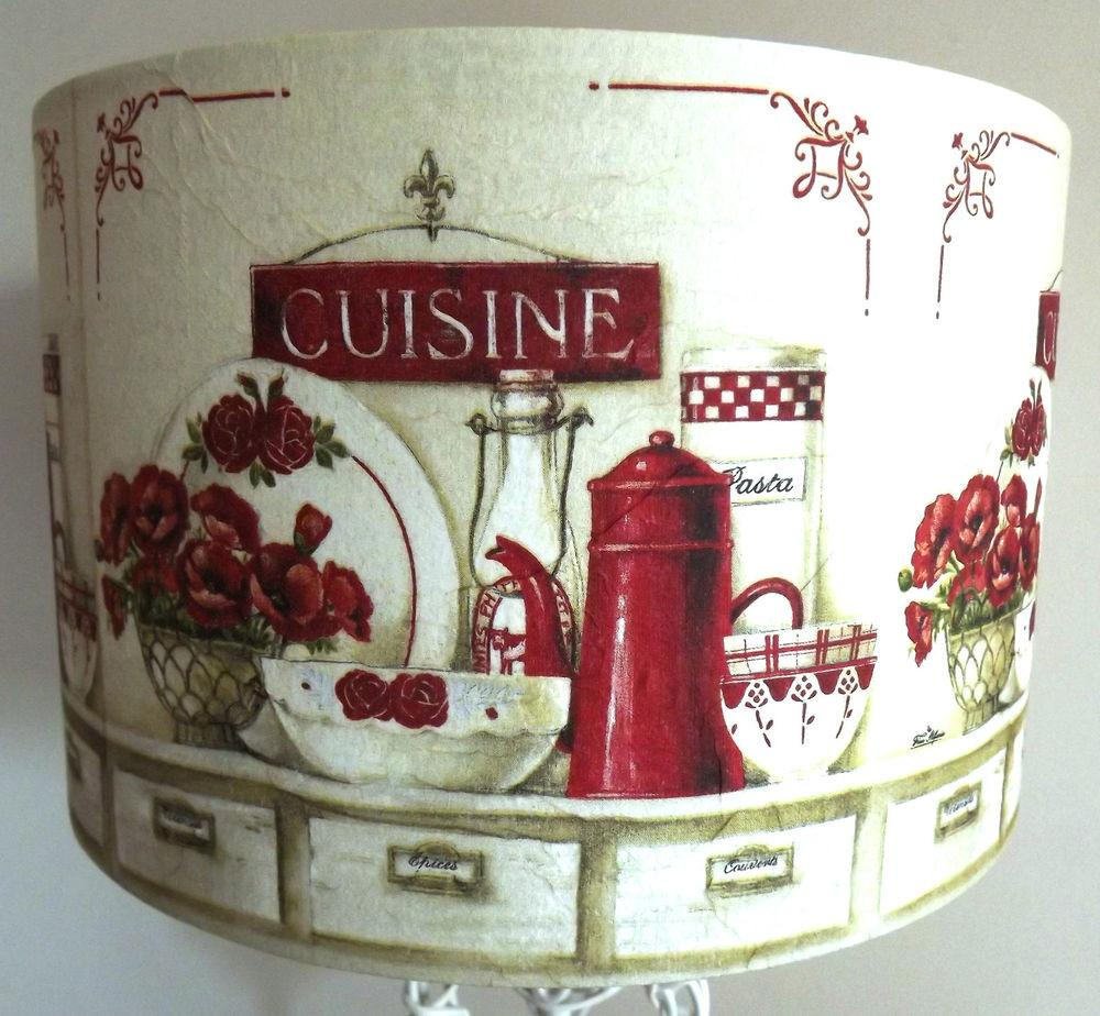 Red Cream Kitchen Lamp Shade Lampshade Poppies French