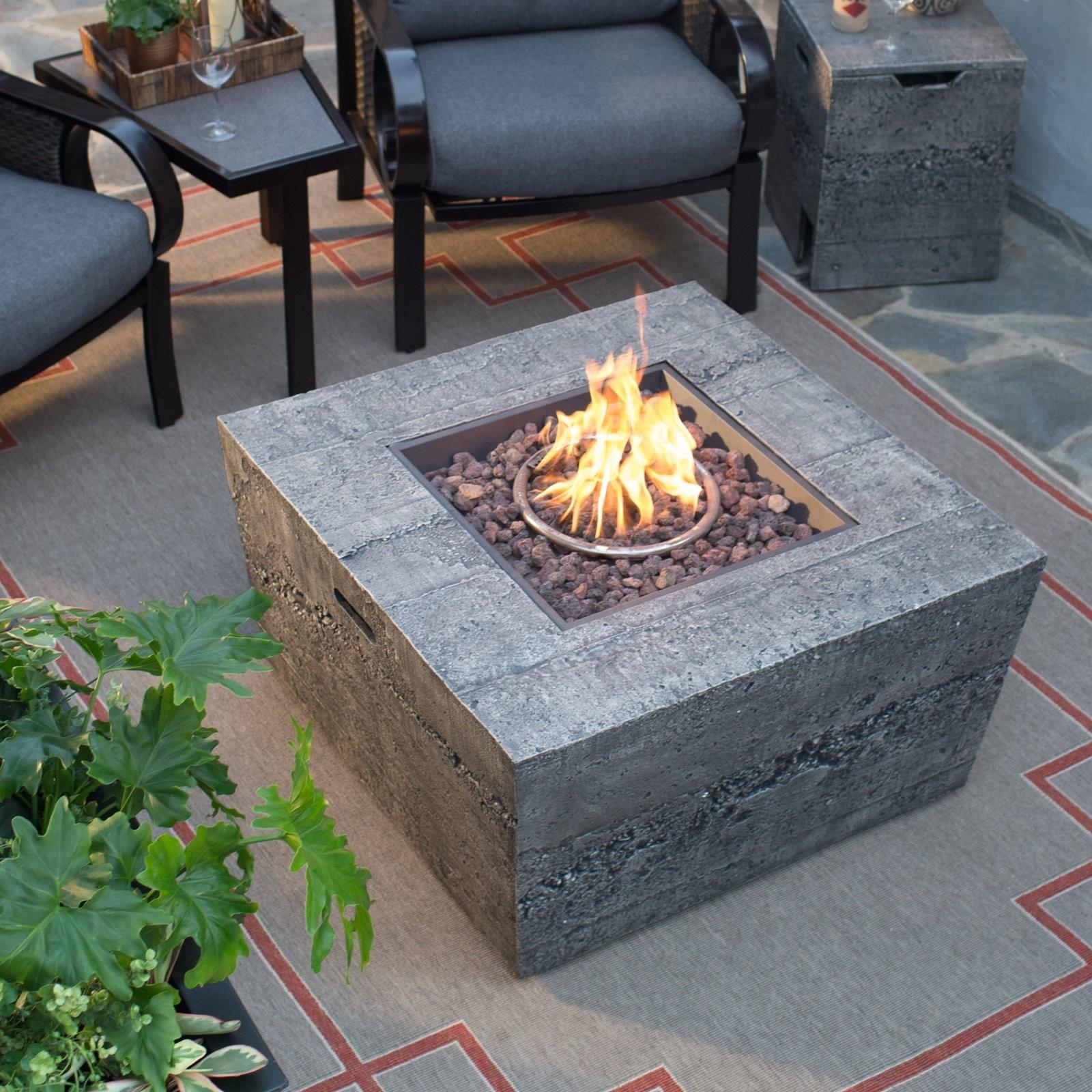 Red Ember Glacier Stone Square Gas Fire Pit Table