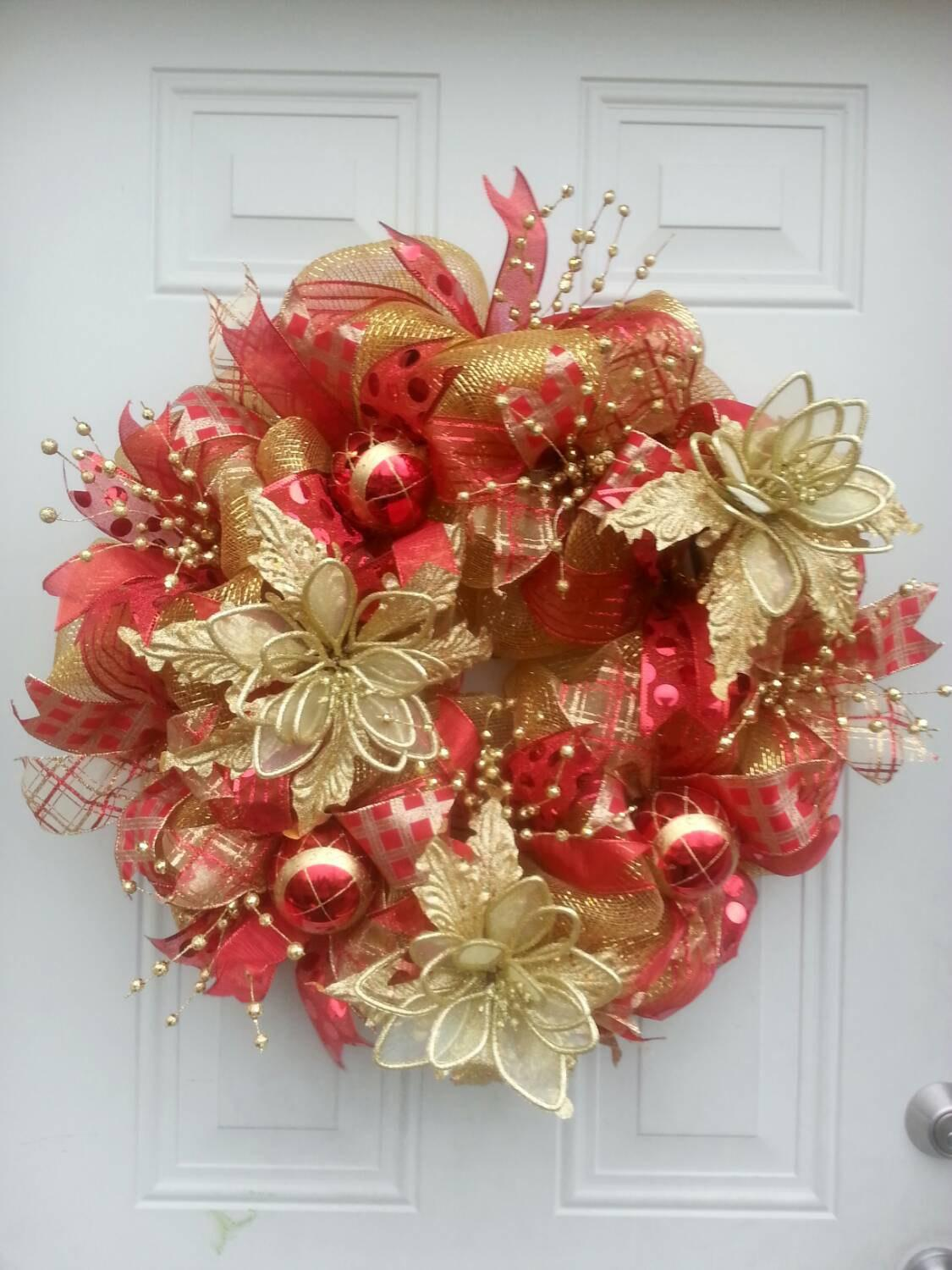 Red Gold Deco Mesh Christmas Wreath Decorations