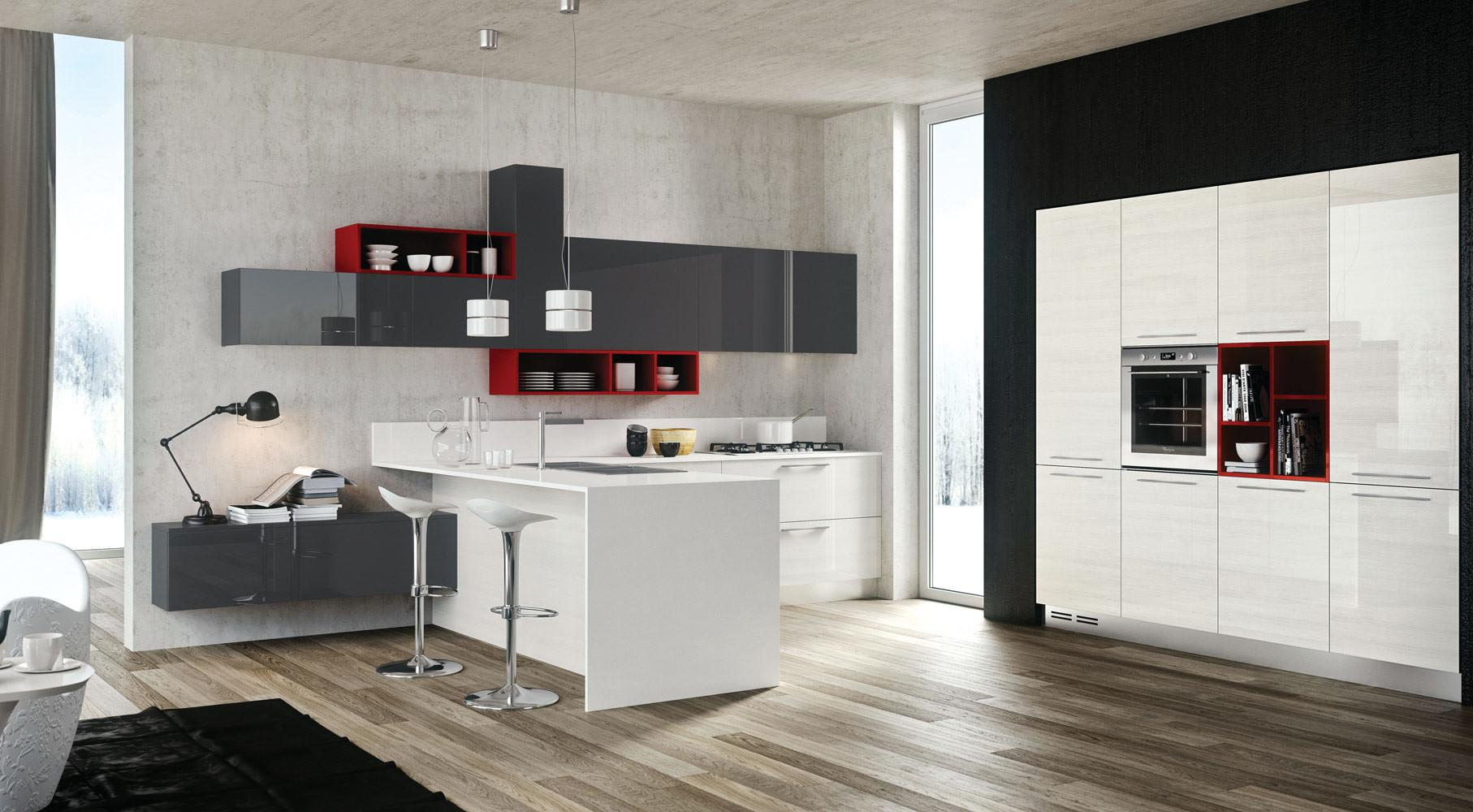 Red Gray White Kitchen Interior Design Ideas