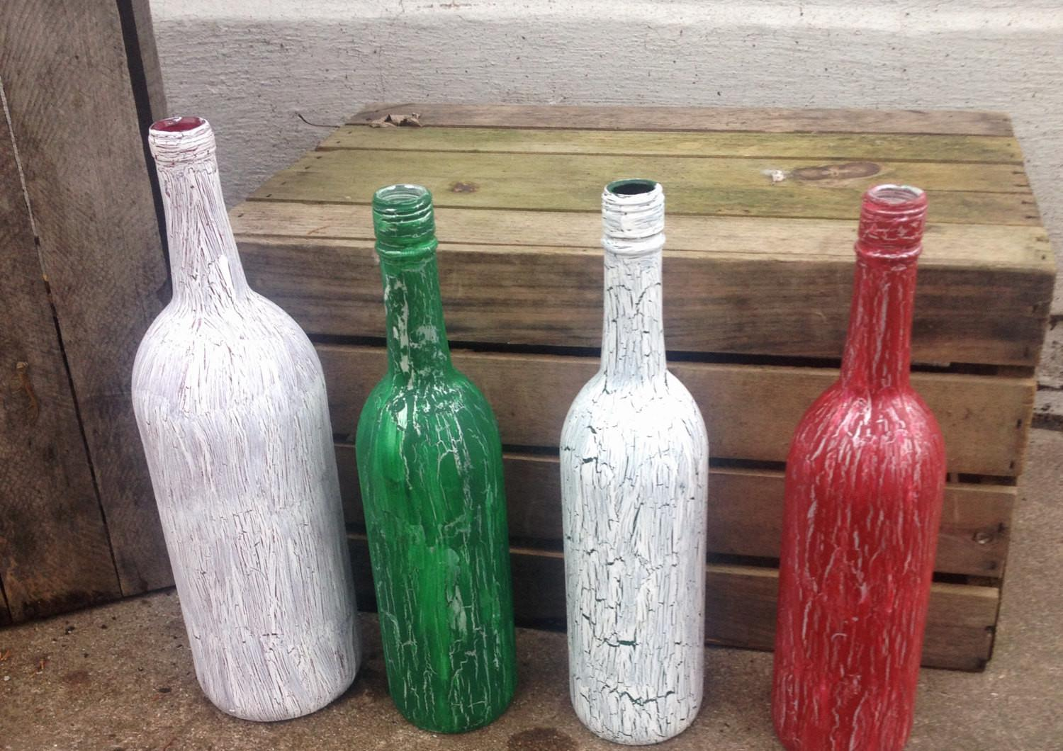 Red Green White Crackle Painted Wine Bottles Christmas