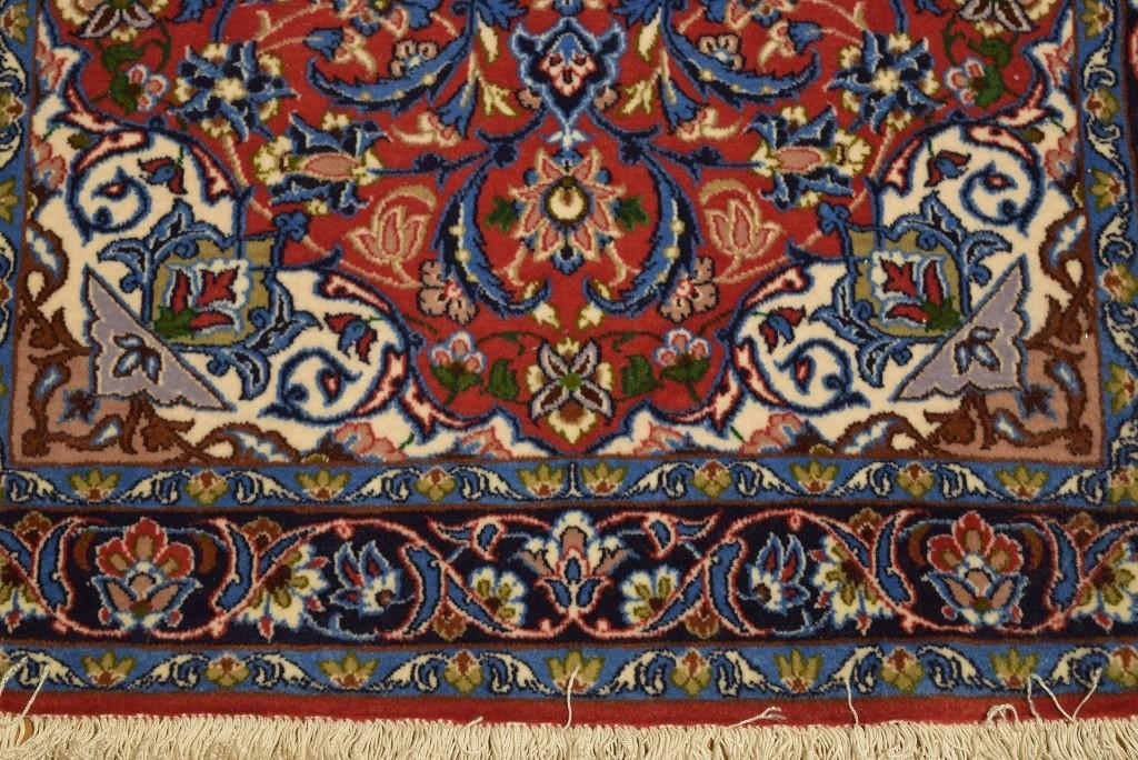 Red Handmade Rug Wool Silk Isfahan High End Rugs