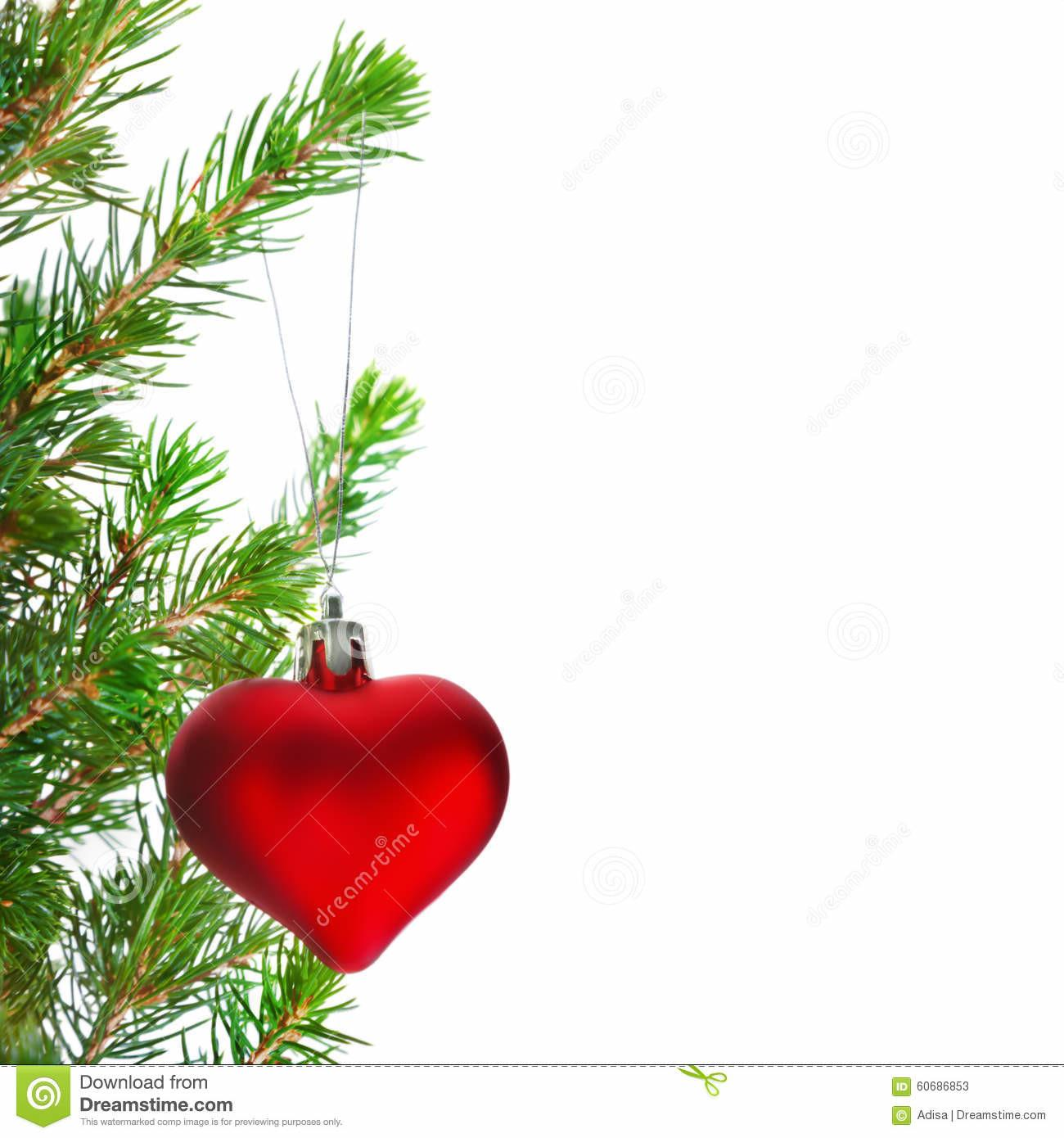 Red Heart Christmas Ornaments Stock