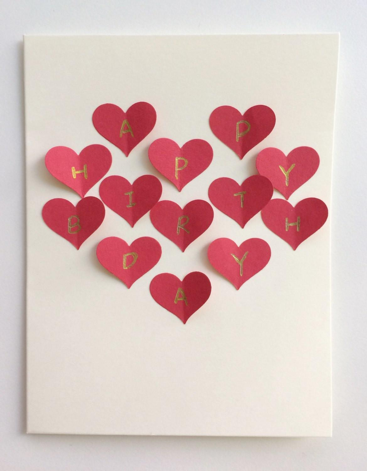 Red Heart Collage Handmade Postcard Card Romantic Gift