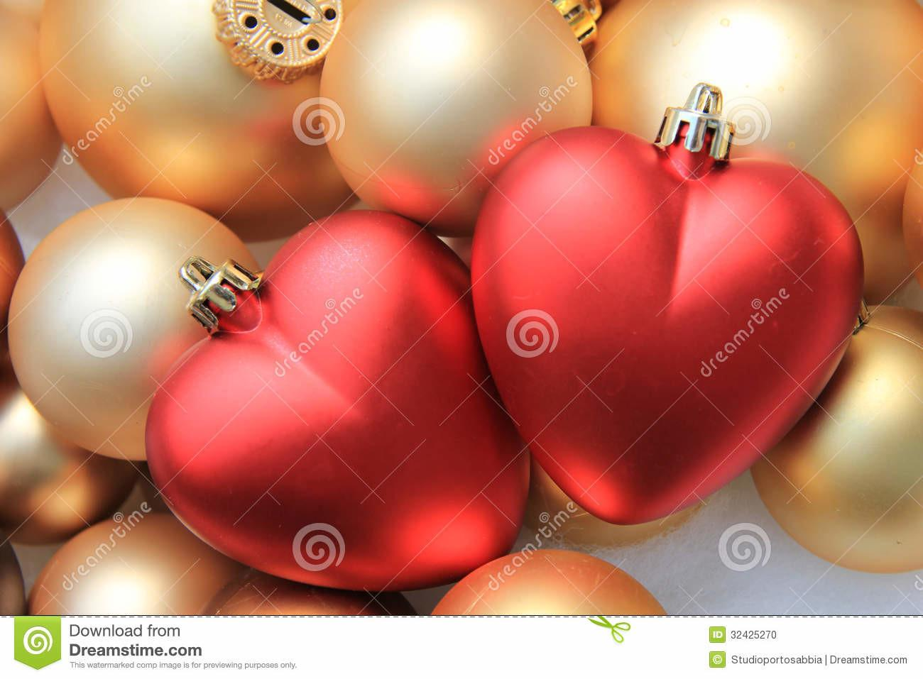Red Heart Shaped Christmas Ornaments Stock