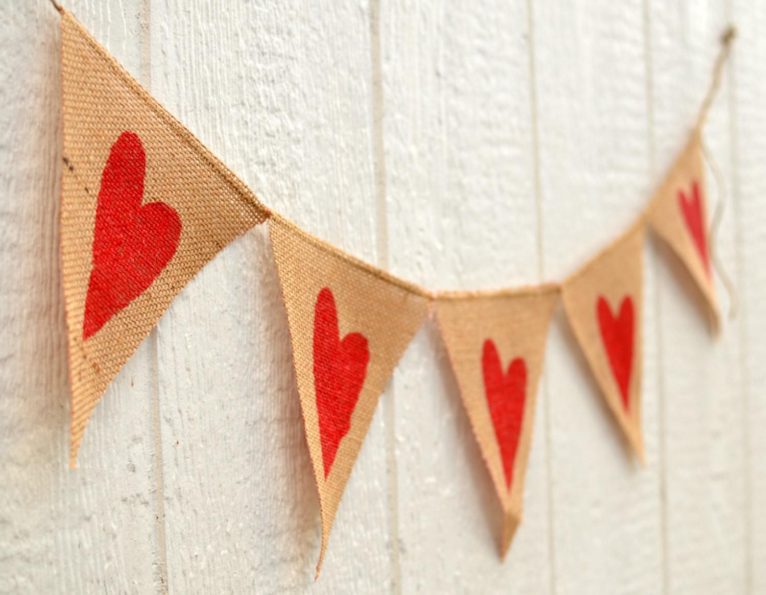 Red Hearts Burlap Valentine Banner Lyladee Etsy
