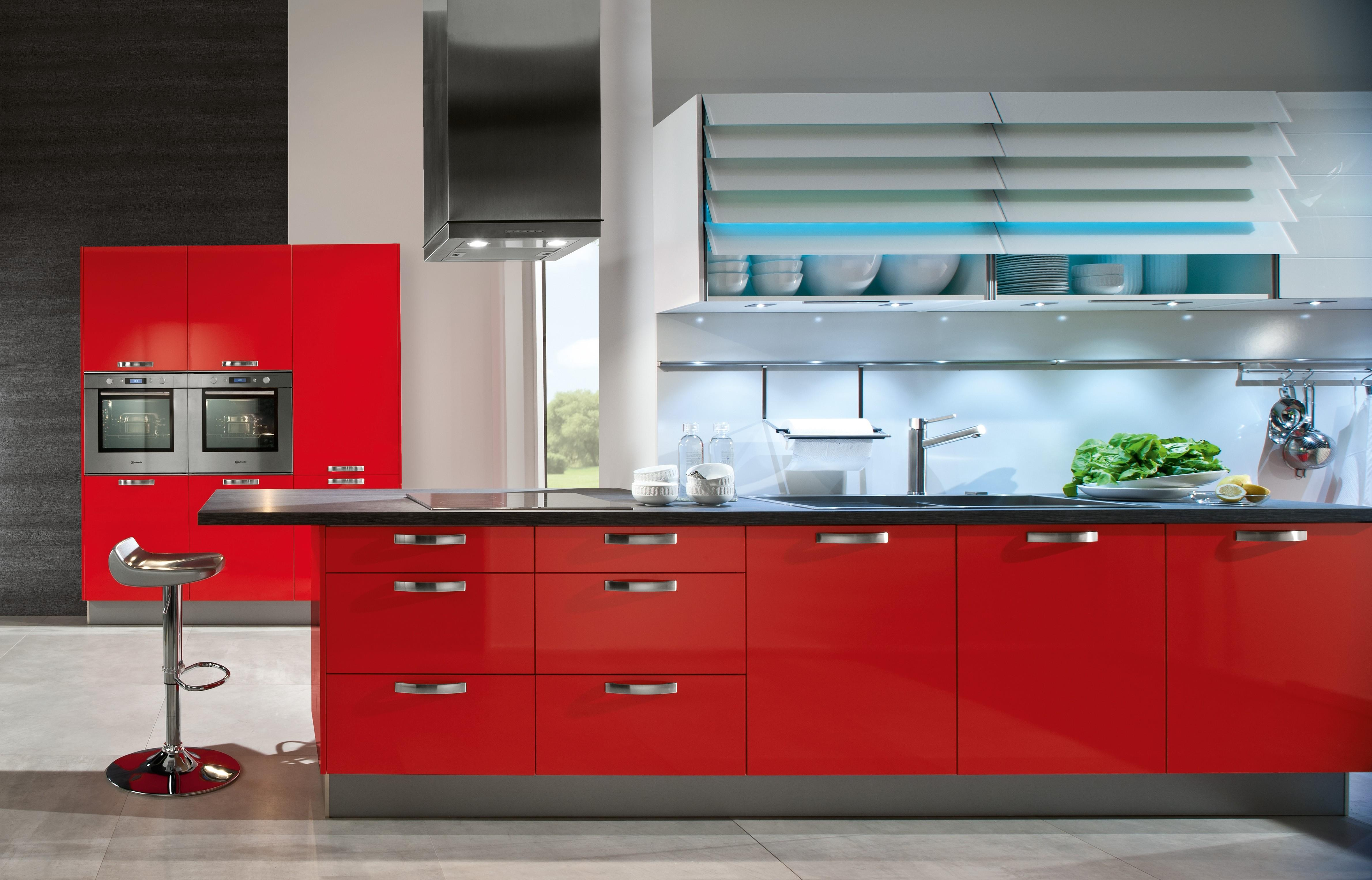 Red Kitchen Cabinets Tjihome