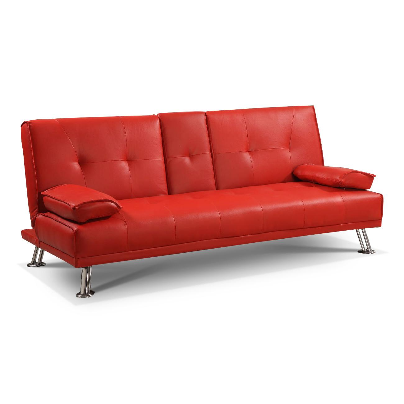 Red Leather Sofa Bed Twin Steal