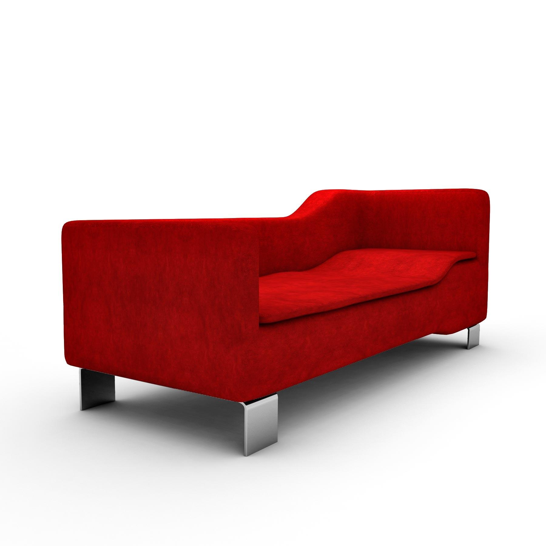 Red Leather Sofa Chaise Lounge Black Wooden Frame