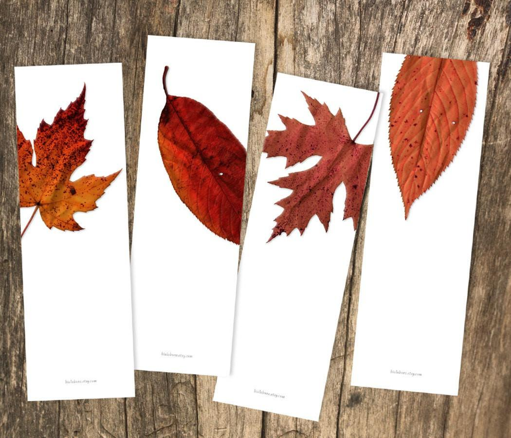 Red Leaves Photography Printable Bookmark Set Diy