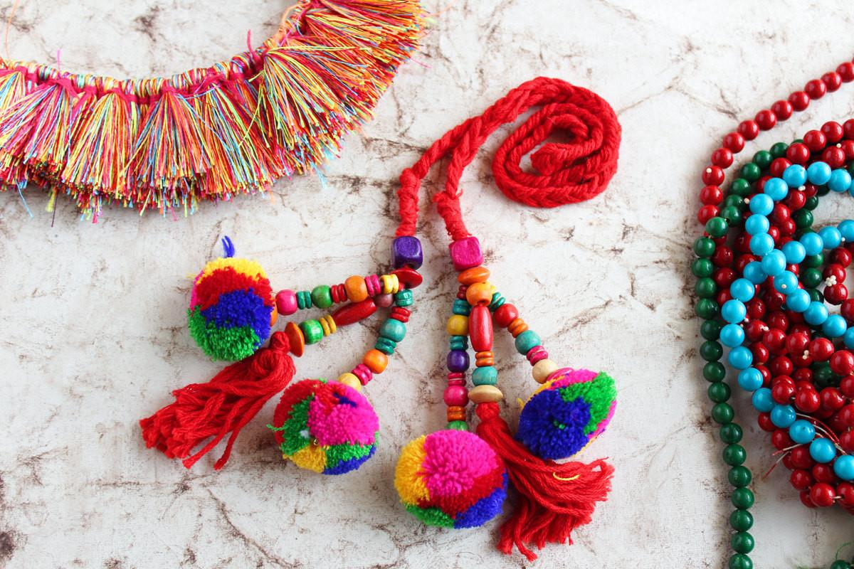 Red Pom Tassels Beaded Camel Swag Jewelry