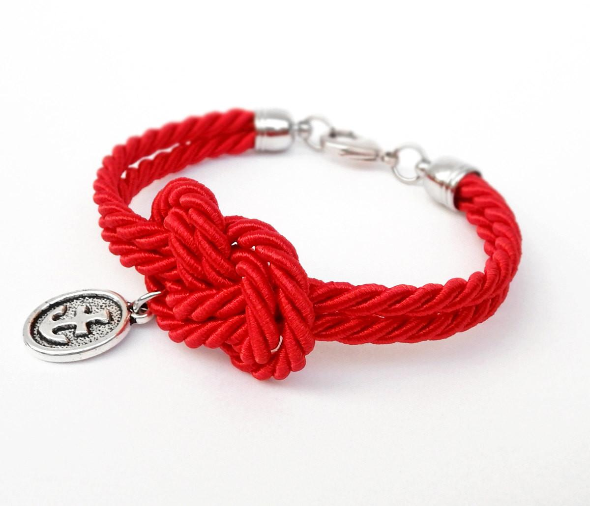 Red Rope Knot Bracelet Silver Anchor Charm Nautical