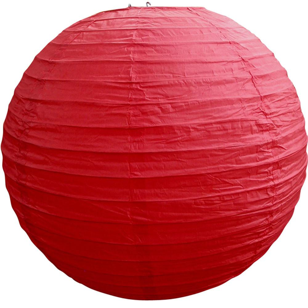 Red Round Paper Lantern Even Ribbing Hanging Light