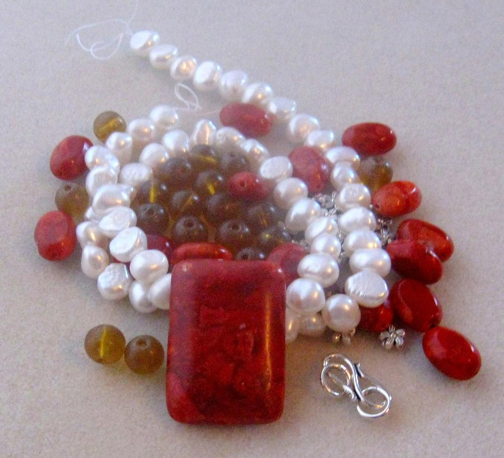 Red Sponge Coral Freshwater Nugget Pearls Amber Glass Diy