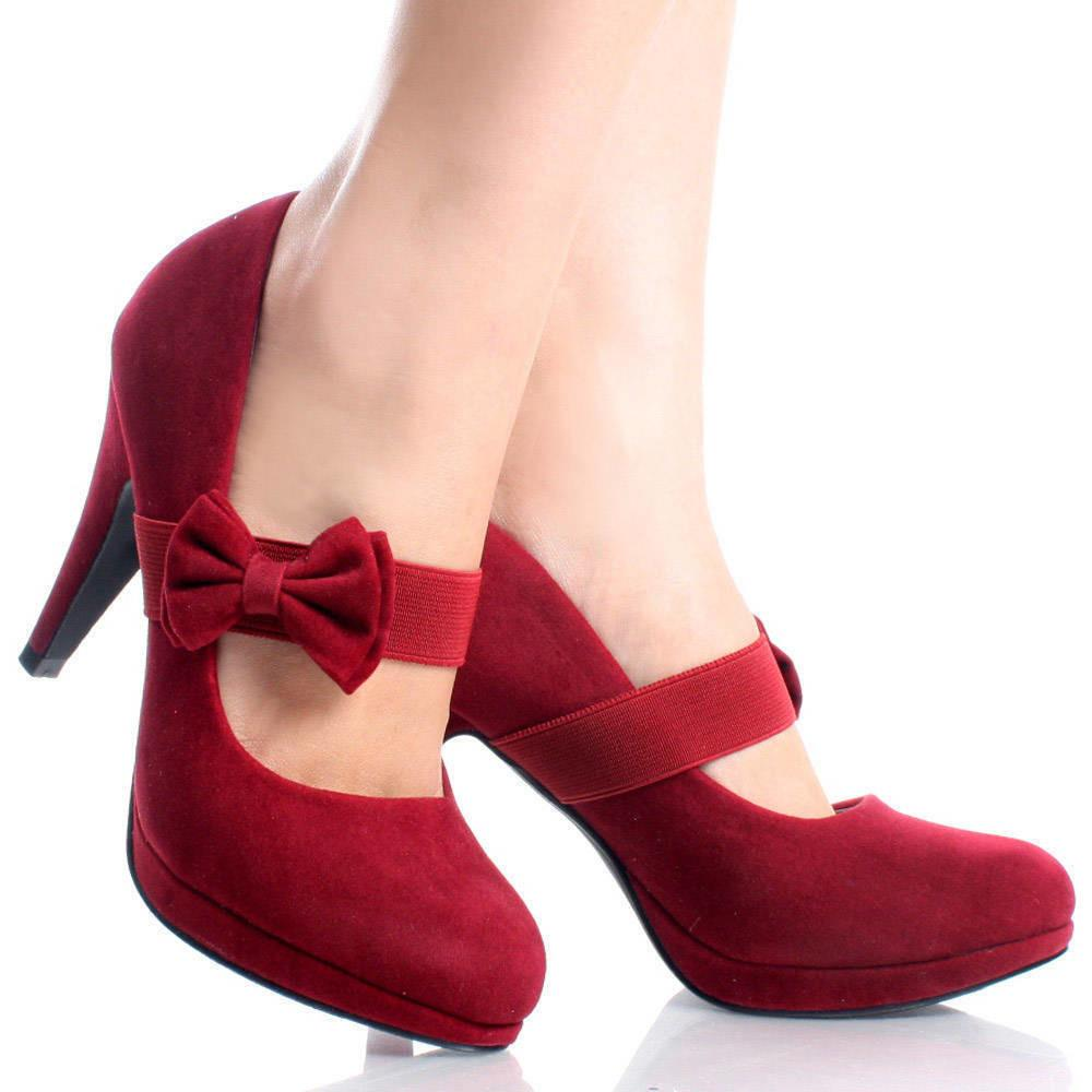Red Suede Vtg Style Slip Bow Pumps Womens High Heel