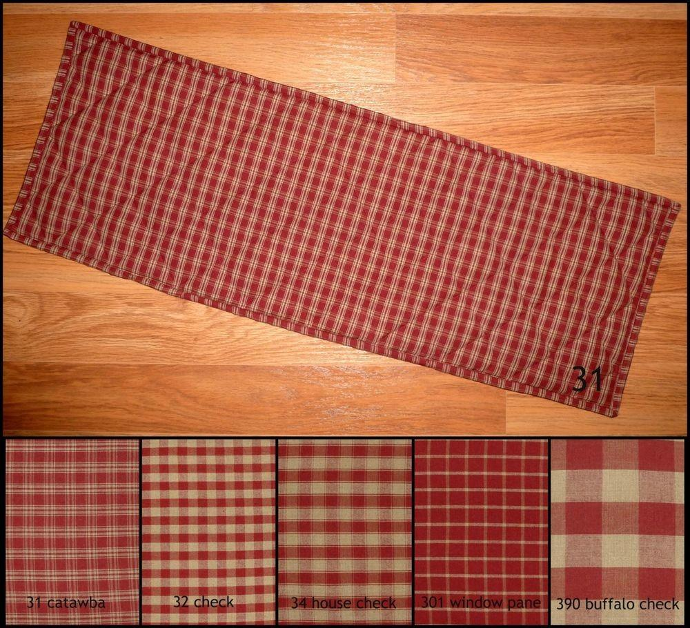 Red Tan Plaid Quilted Table Runner Placemats