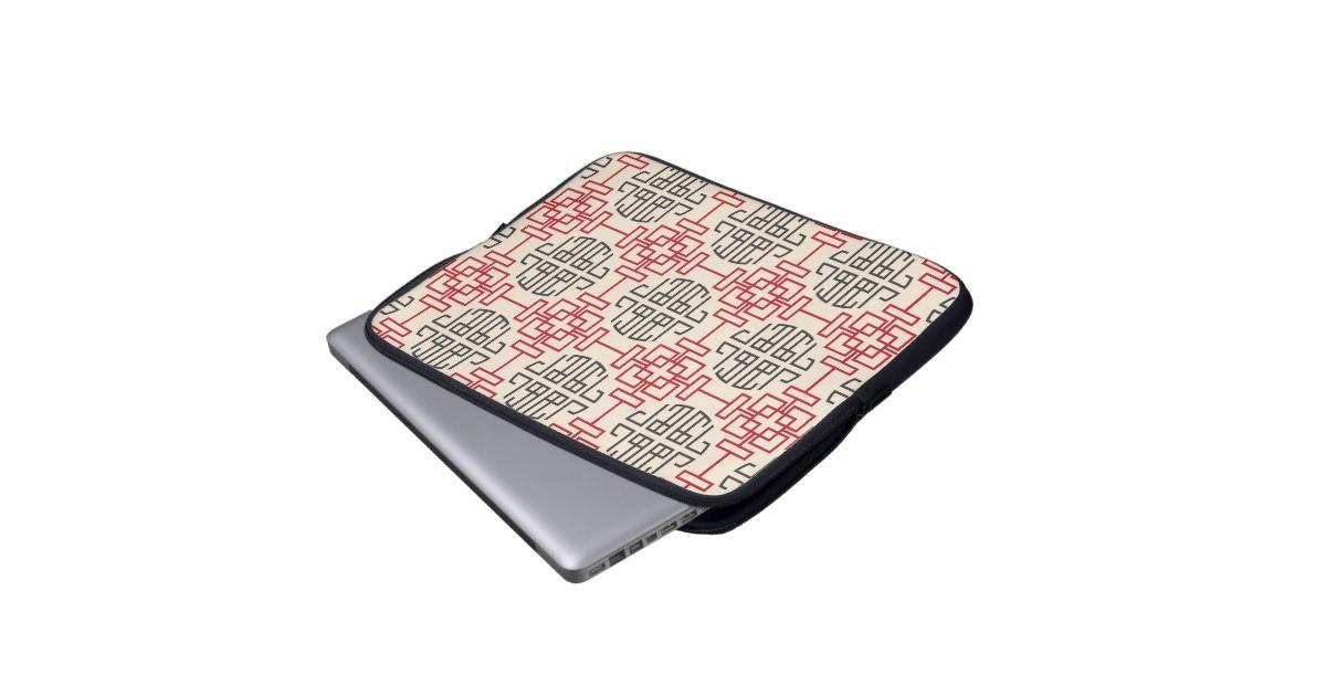 Red Traditional Geometric Chinese Decorative Patte Laptop