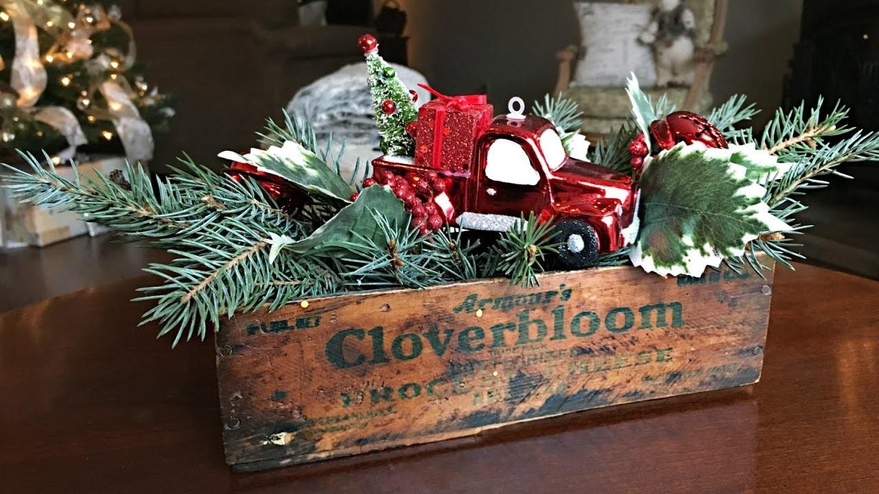 Red Truck Christmas Centerpiece Diy Decorating