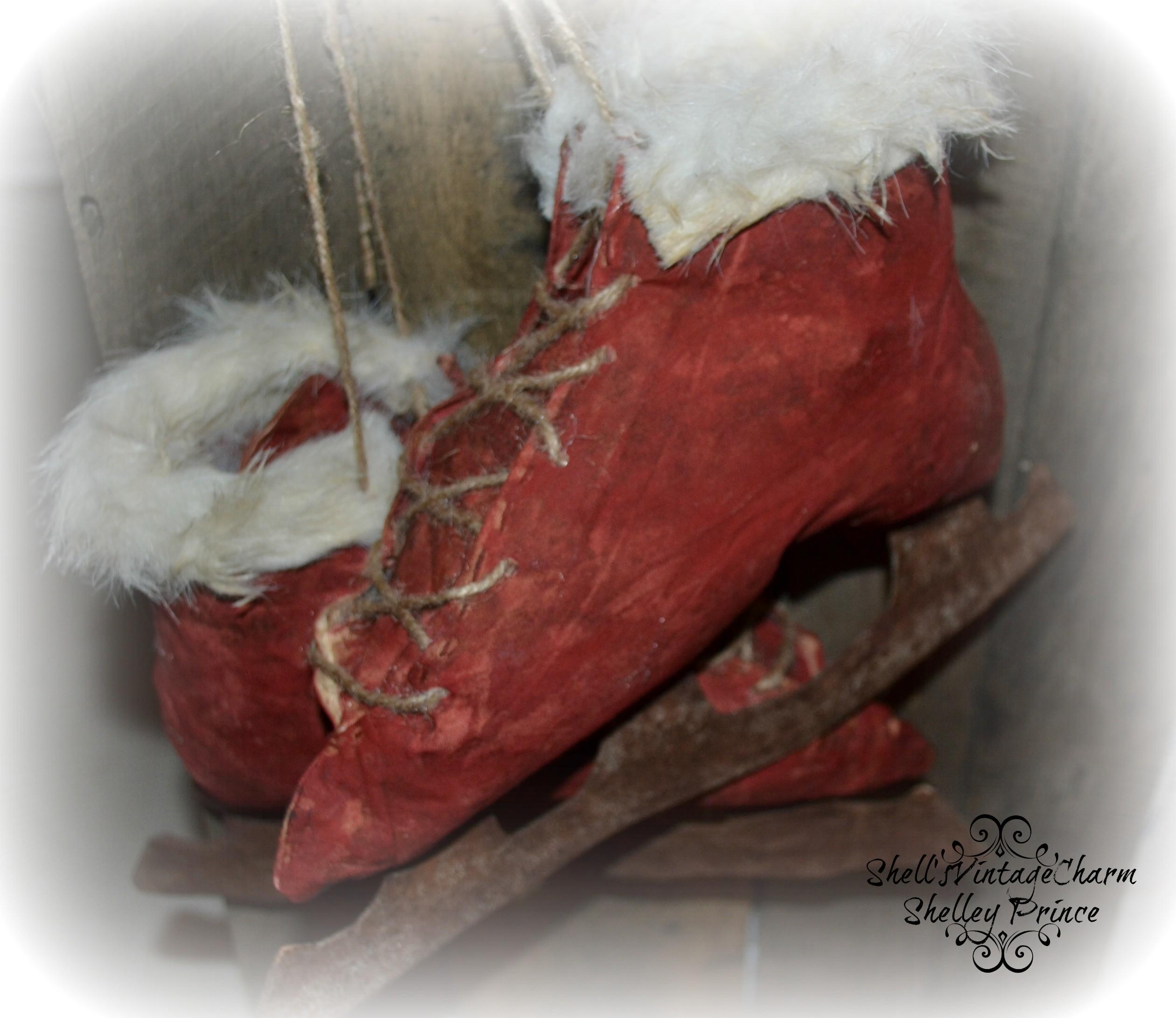Red Vintage Primitive Ice Skates Faux Fur Made Fabric