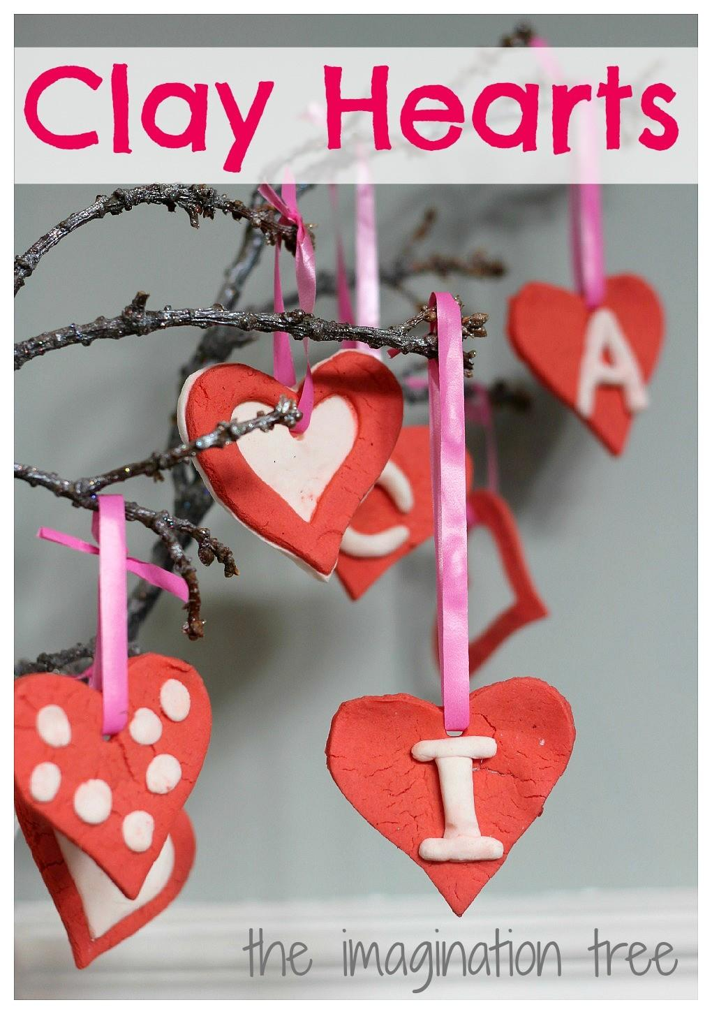 Red White Clay Heart Ornaments Imagination Tree