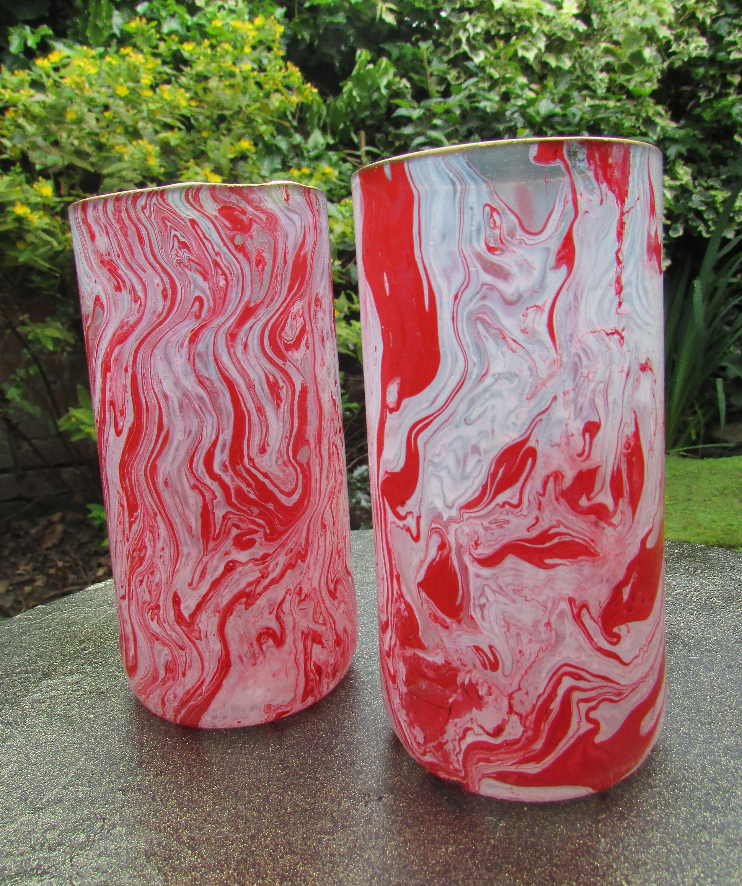 Red White Marbled Glasses Peppermint Candy Style