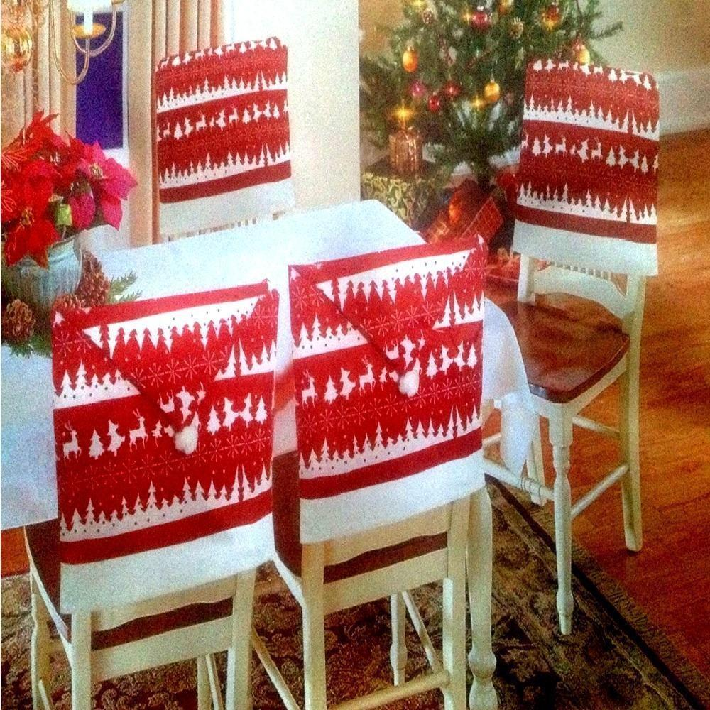 Red White Nordic Hat Chair Back Covers Christmas Xmas