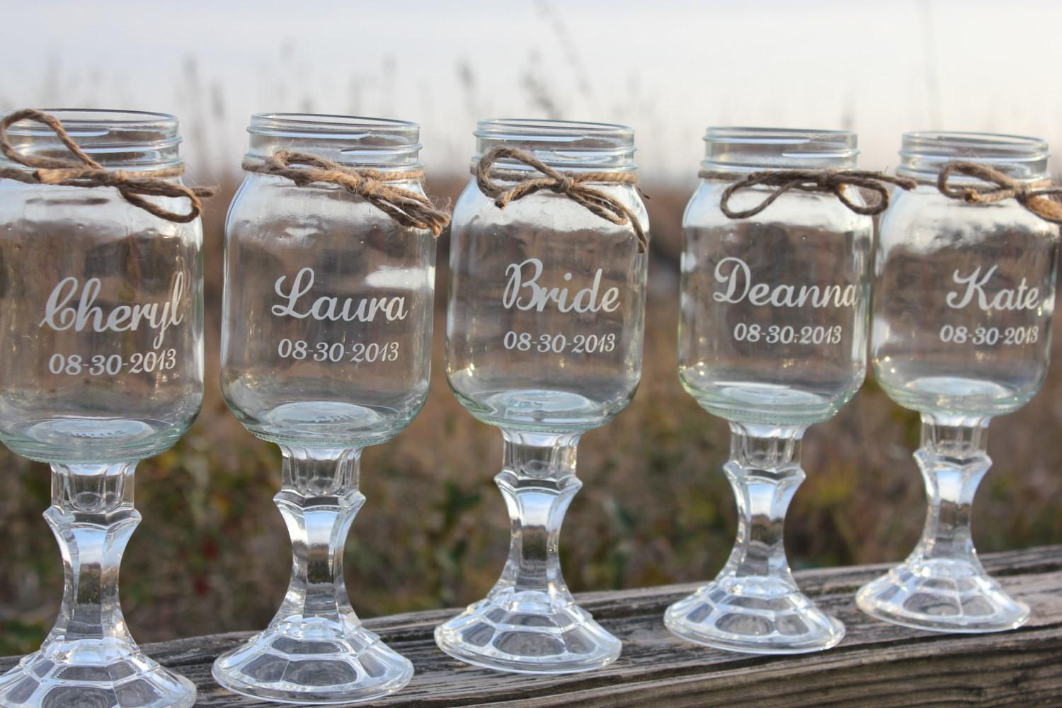 Redneck Wine Glasses Wedding Bridal Party Personalized