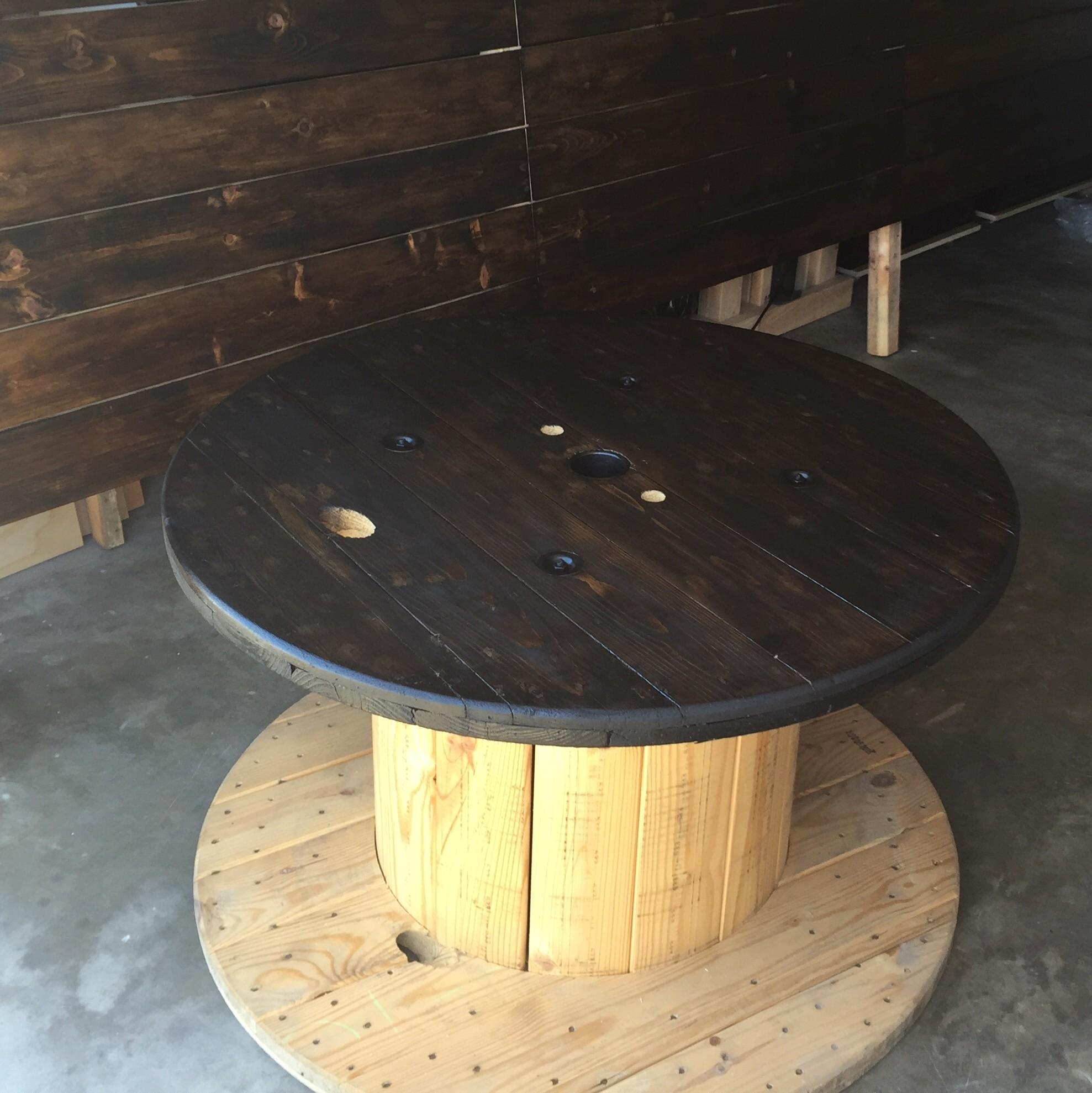 Refurbished Electrical Wire Spool Table Duo