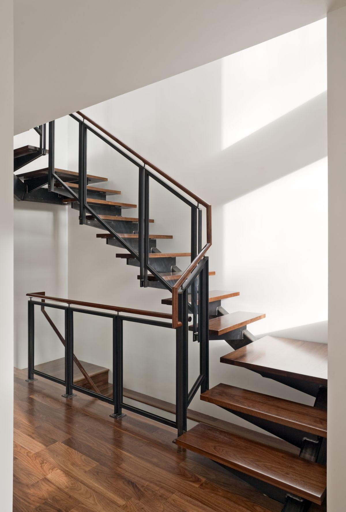 Regal Glass Banister Stairs Black Iron Frame