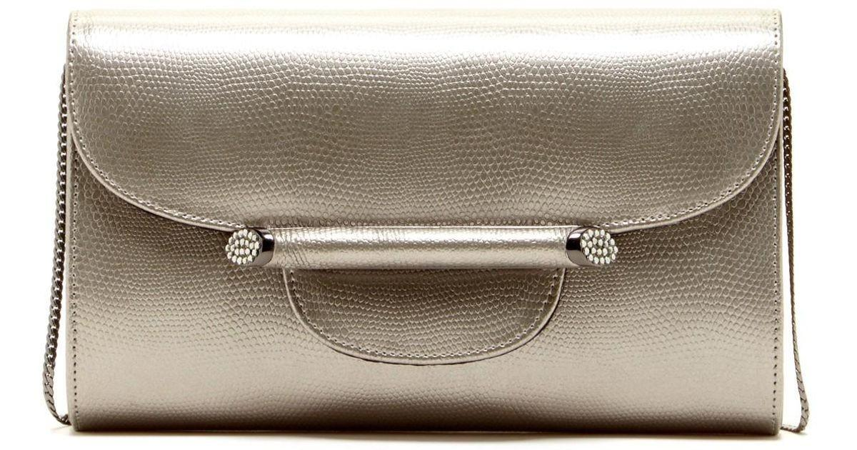 Regale Metallic Leather Flap Clutch Lyst