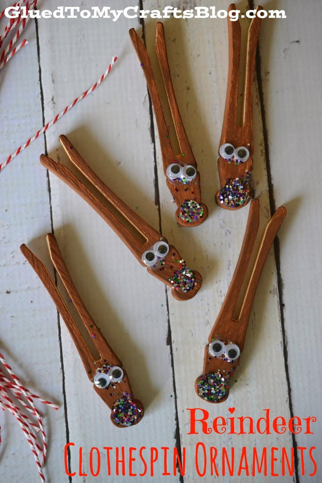 Reindeer Clothespin Ornaments Kid Christmas Craft