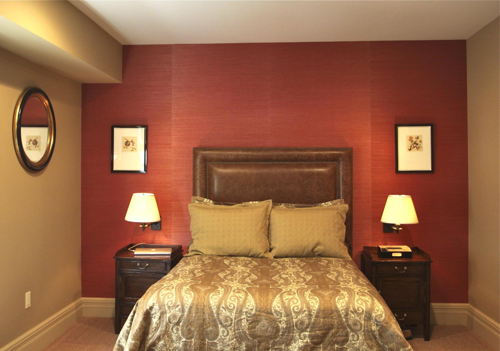Remarkable Red Wall Painted Color Bedroom Decorating
