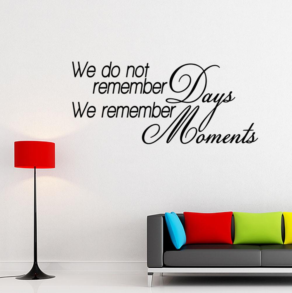 Remember Moments Vinyl Wall Quote Decal Inspirational