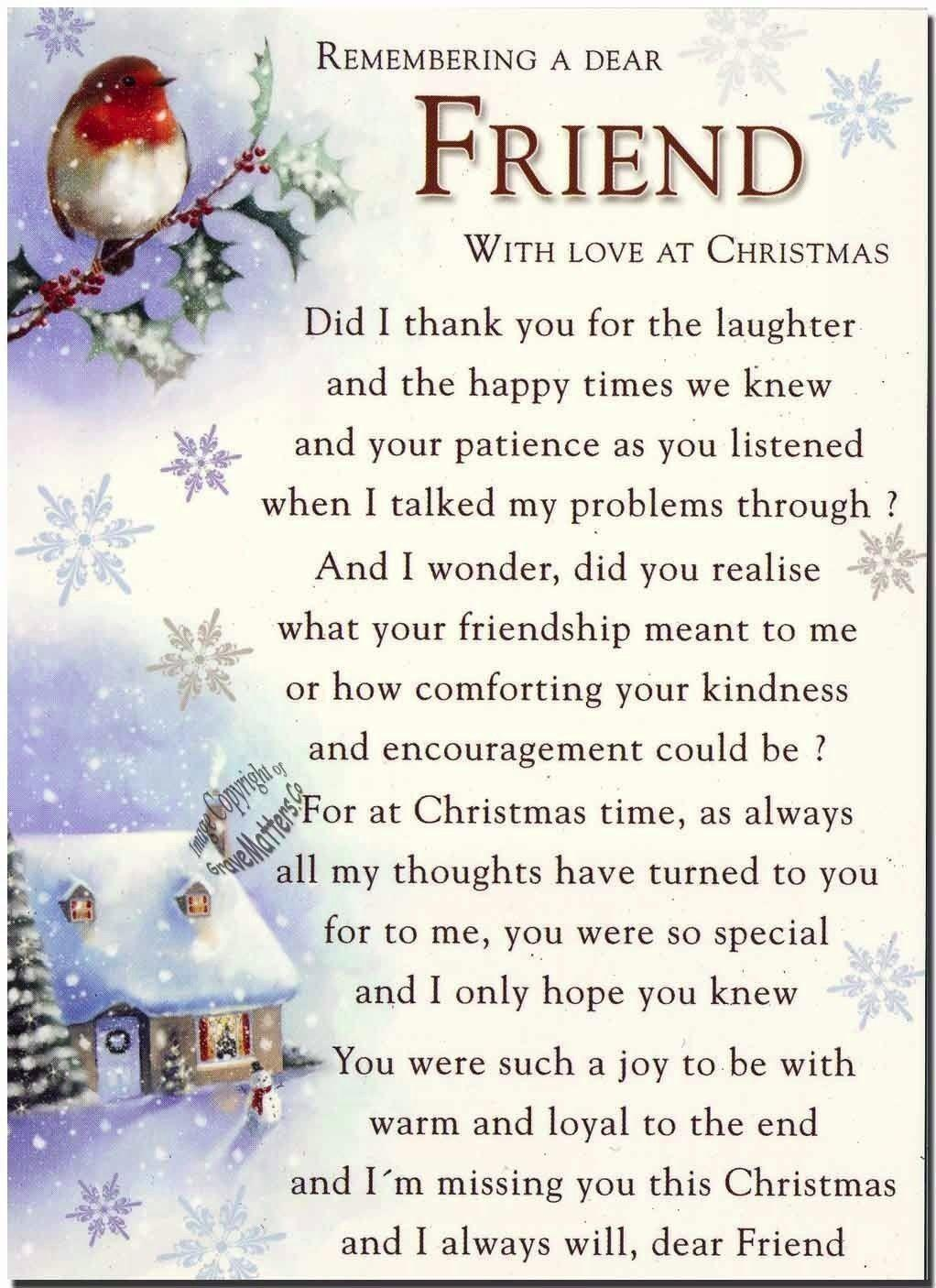 Remembering Special Friend Christmas Time