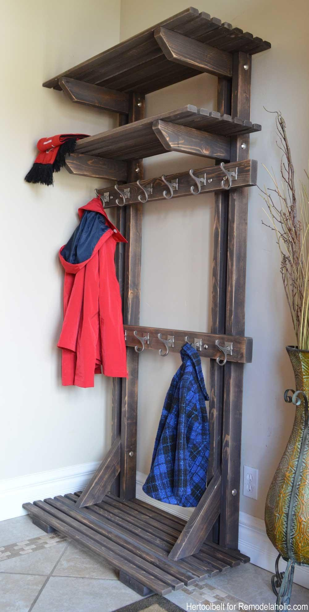 Remodelaholic Diy Hall Tree Coat Rack Inspired
