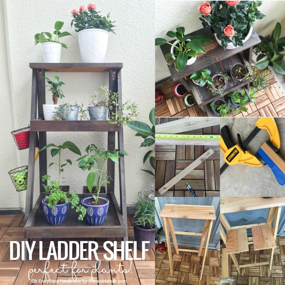 Remodelaholic Tutorial Build Ladder Plant Stand