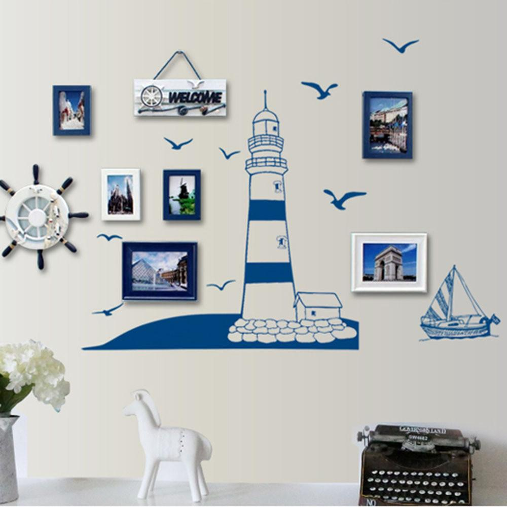 Removable Wall Sticker Pvc Blue Sailing Boat Tower
