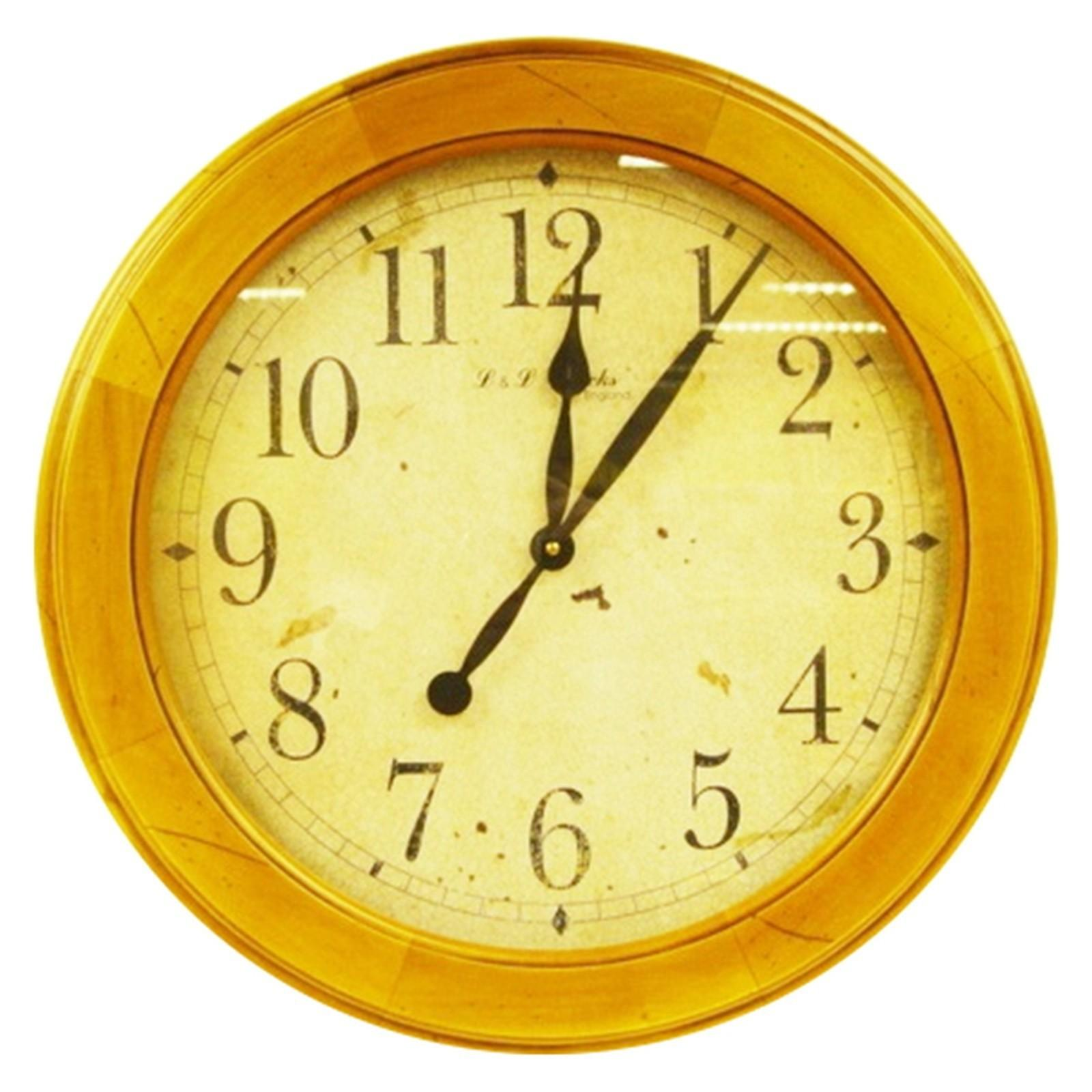 Reproduction Wall Clock Antique Look Simple Design Wood