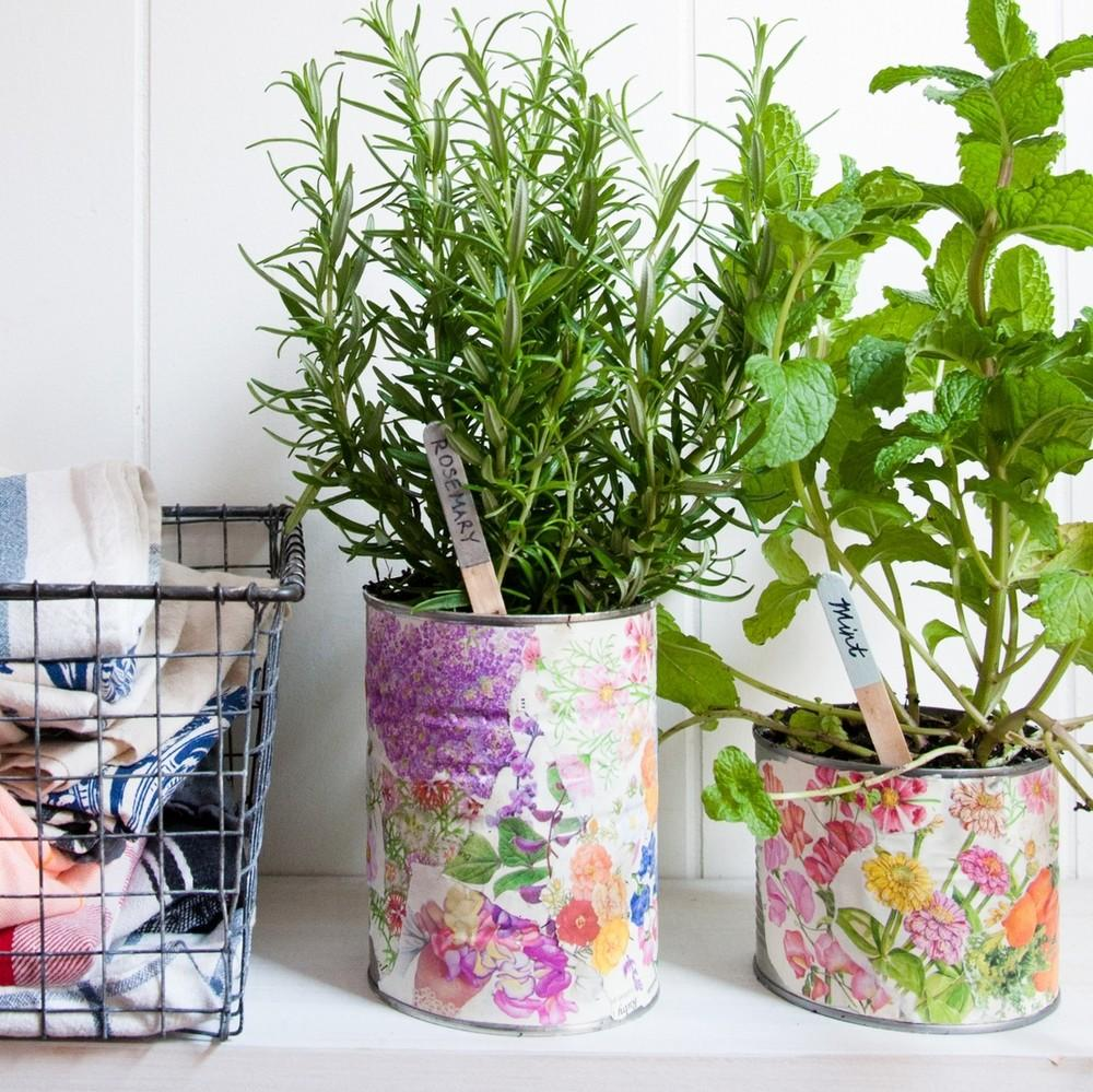 Repurpose Decoupage Tin Can Planters Just Craft
