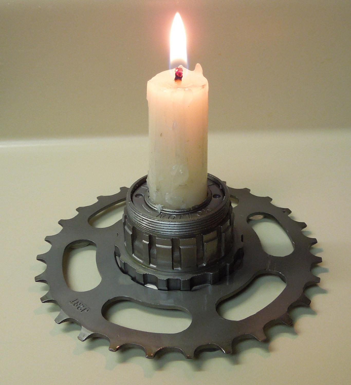 Repurposed Candle Holder Bicycle Hub Mounted Gear